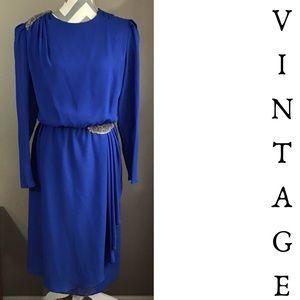 Vintage 80s Royal Blue Cocktail Dress